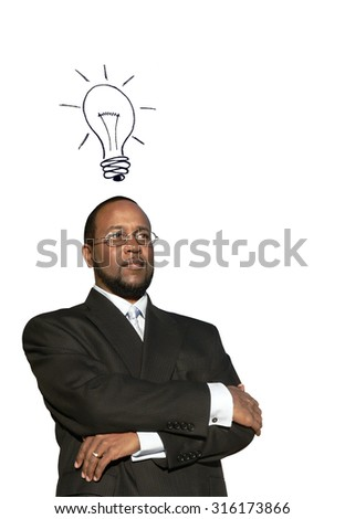 photo collage concept of a african american business man in deep thought with a illustrated idea bulb to depict a great idea - stock photo
