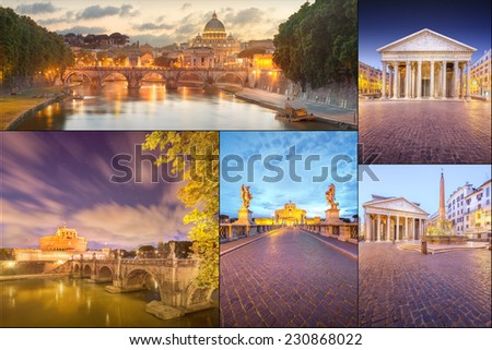 Photo collage from Rome, Italy. Collage includes major landmarks - stock photo