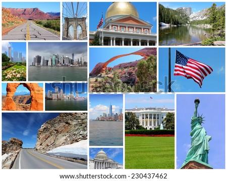 Photo collage from United States. Collage includes major landmarks like New York City, Washington DC, Chicago, Boston, Rocky Mountains and Utah. - stock photo