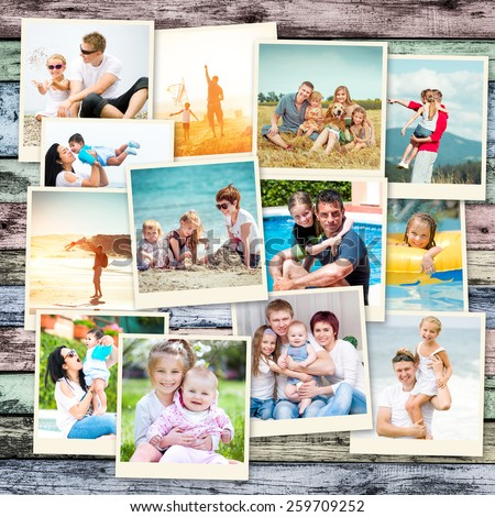photo collage happy parents with children on holiday - stock photo