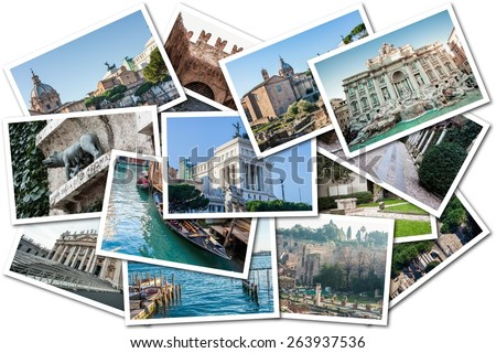 Photo Collage Italy. In the picture there are cities such as Rome, Venice and Verona - stock photo