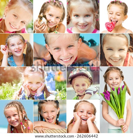 photo collage of a little girl with a pretty face in a good mood - stock photo