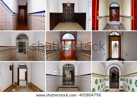 Photo collage of colorful front doors to Spanish houses and homes. Collage of the doors in Spain, Europe. Different European cozy courtyard entrance doors. Colorful living city compilation set. - stock photo