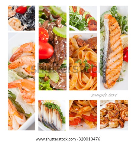Photo Collage of dishes for restaurant food menu