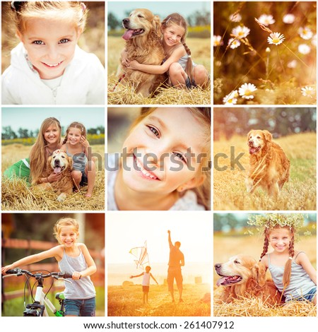 photo collage of family with  dog resting in the field and flying a kite - stock photo