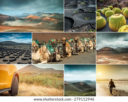 Photo collage of landscapes  from  island Lanzarote, Spain - stock photo