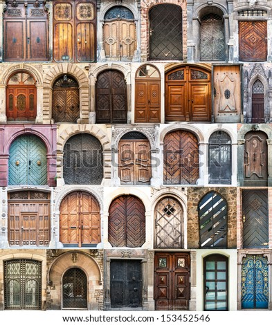 photo collage of old doors Gothic quarter in Barcelona. Spain - stock photo
