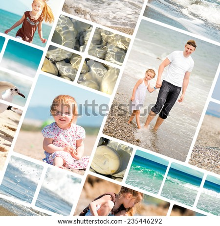 photo collage of summer family vacation - stock photo