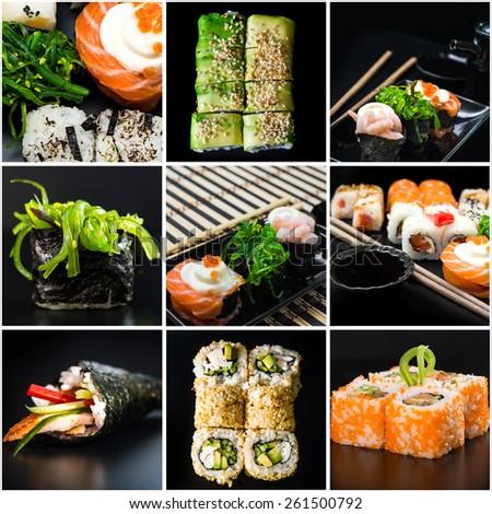 photo collage  of sushi  set - stock photo