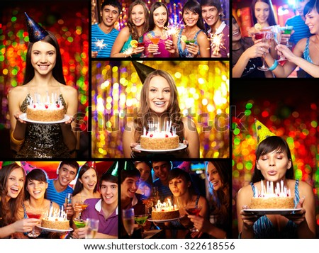 Photo collage of young people having party