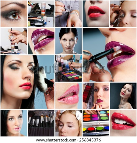 photo collage on the make-up theme - stock photo