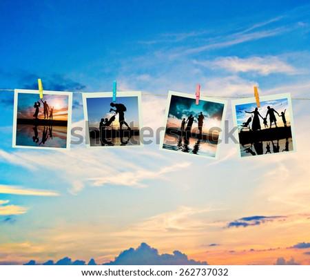 photo collage silhouettes family on the beach - stock photo