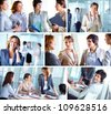 Photo collection of successful business ladies at work - stock photo