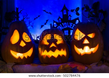Photo composition of pumpkins for Halloween holiday All Saints day