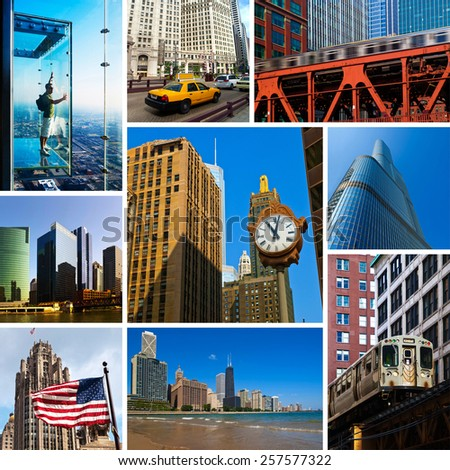 Photo Composition with Famous Chicago Views, USA