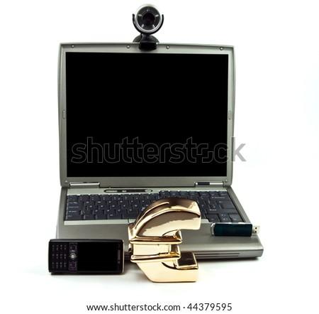 photo concept money saving using generic laptop and webcam - stock photo