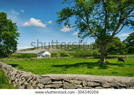 photo countryside farm house landscape - stock photo