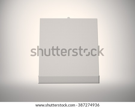Photo empty white open pizza box on abstract background. Horizontal mockup. 3d render