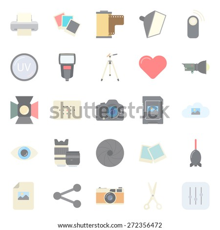Photo equipment end editing color flat icons set graphic illustration design - stock photo