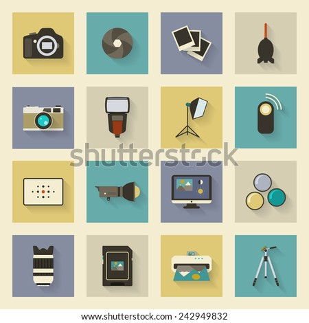 Photo equipment flat icons set with shadows graphic illustration design - stock photo