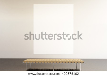 Photo exhibition space modern gallery.Huge white empty canvas hanging contemporary art museum.Interior loft style with concrete floor. Picture generic design furniture and building. 3d rendering - stock photo