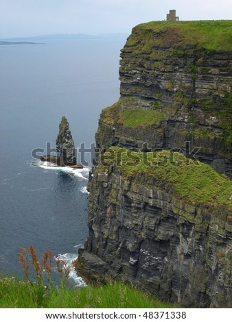 photo famous cliffs of moher,sunet capture,west of ireland - stock photo