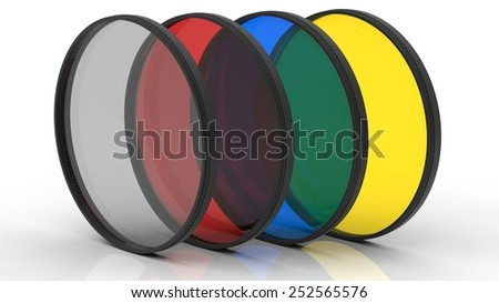 Photo filters in different colors - stock photo