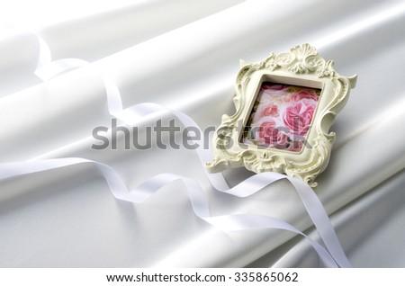 photo frame and cloth drape - stock photo