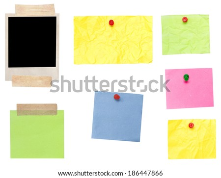 photo frame and empty papers isolated on white