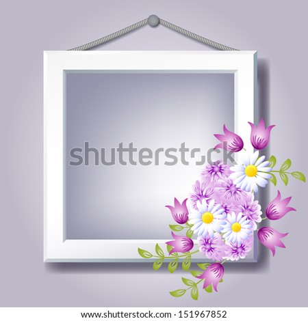 Photo frame and floral ornament   - stock photo