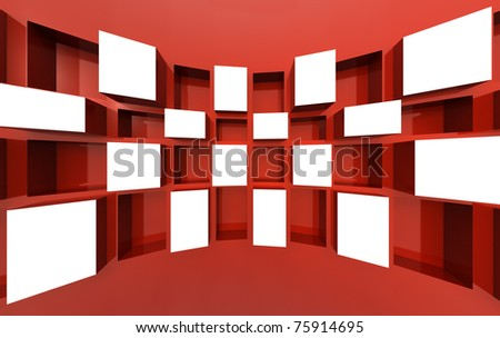 Photo frame display image or artwork in white space 3d illustration - stock photo