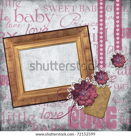 Photo frame for a girl with a flower,  lace, tage - stock photo