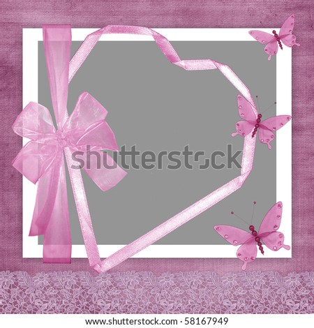 Photo frame for a girl with a heart, a bow and butterflies - stock photo