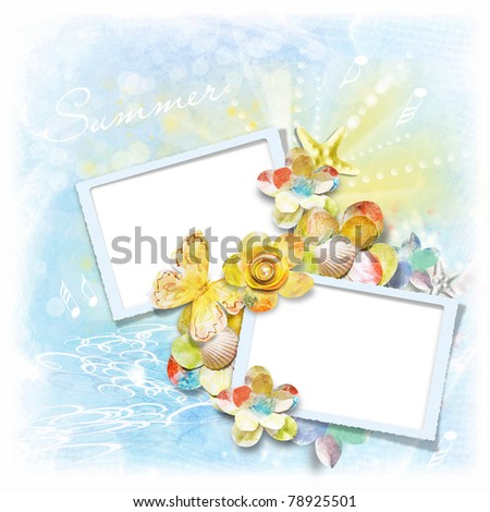 Photo frame for summer photos - stock photo
