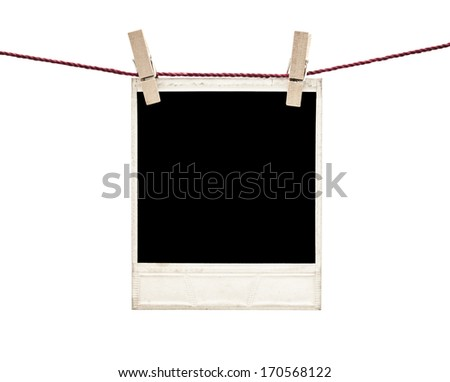 photo frame hanging isolated on white