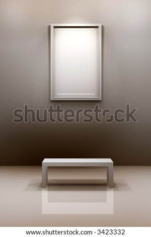 Photo frame hanging on wall - stock photo