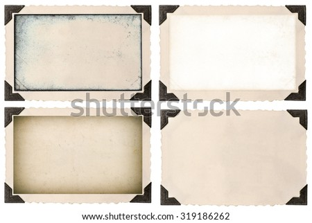 Photo frame mock up with corner and empty field for your picture isolated on white background - stock photo