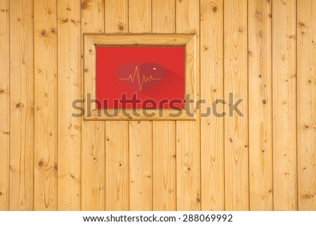 photo frame on wooden board background texture - stock photo