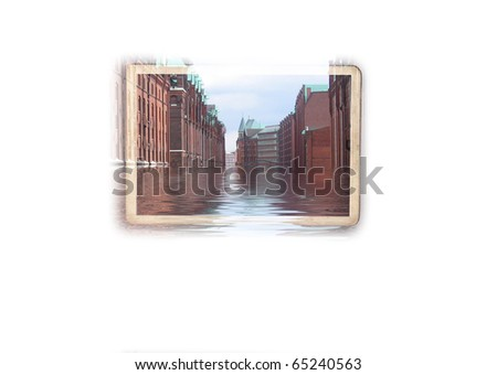 Photo frame with flooded street - stock photo