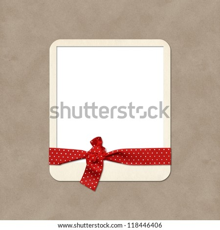 Photo frame with ribbon - stock photo