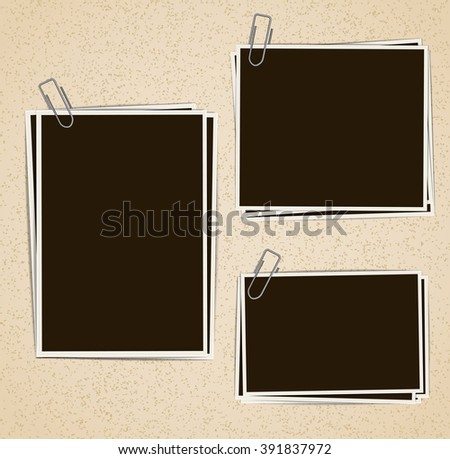 Photo frames composition with clips on retro background. Raster - stock photo