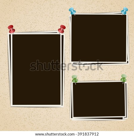 Photo frames composition with pushpins on retro background. Raster - stock photo