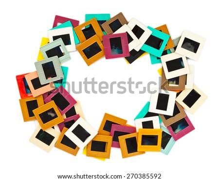 Photo frames for slide isolated on white background - stock photo