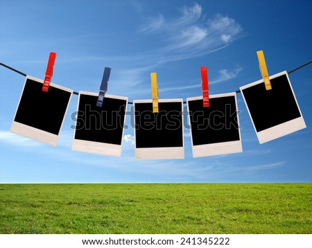 photo frames over sky background                              - stock photo