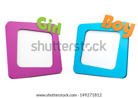 Photo Frames with Girl and Boy Signs on a white background - stock photo