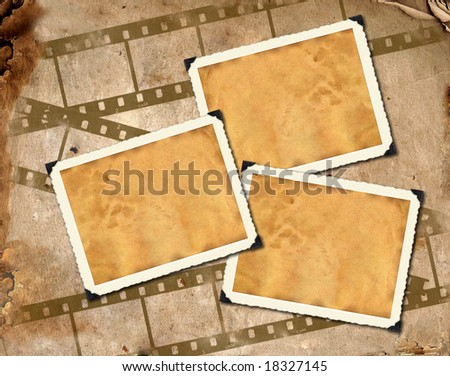 Photo frameworks on background image with interesting texture old paper and filmstrip - stock photo