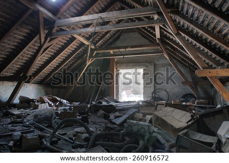 Photo from demolition  textile  factory, under roof - stock photo