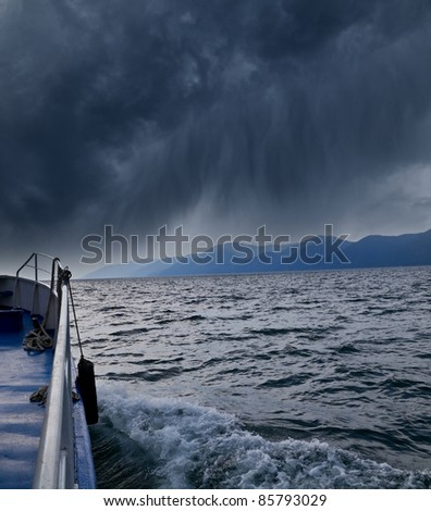 Photo from the ship during a storm - stock photo