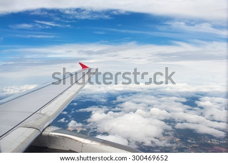 photo from the window of an airplane  - stock photo