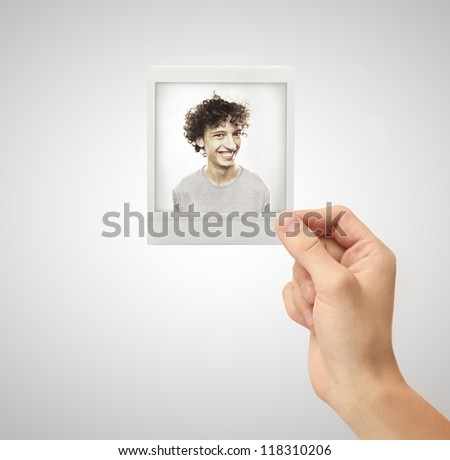 photo funny boy in hand - stock photo